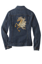 Load image into Gallery viewer, Customizable Embroidered Horse Denim Jacket - Ladies