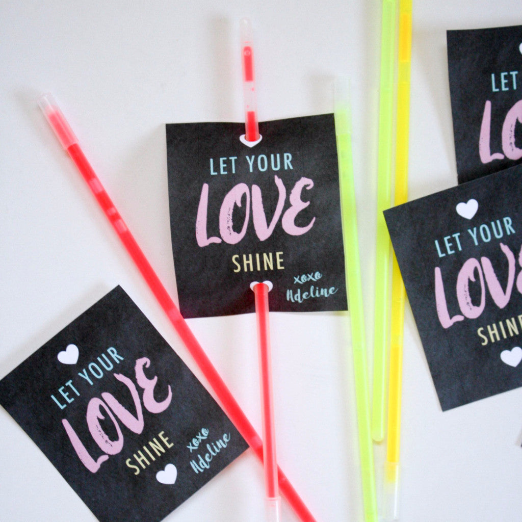 picture relating to Glow Stick Valentines Printable known as Shine Adhere Printable Valentines