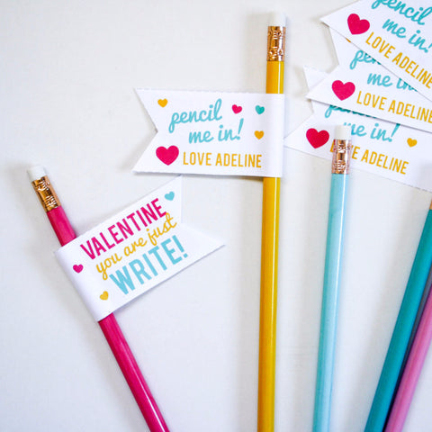 Printable Valentine Pencil Flags