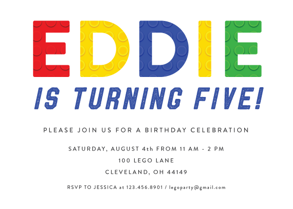 LEGO inspired invitation
