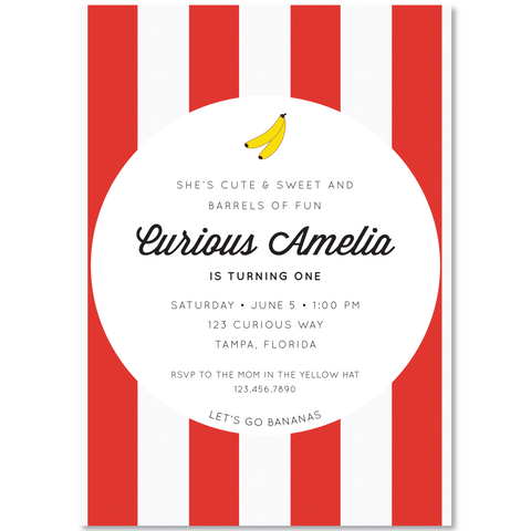 """curious george"" inspired invitation"