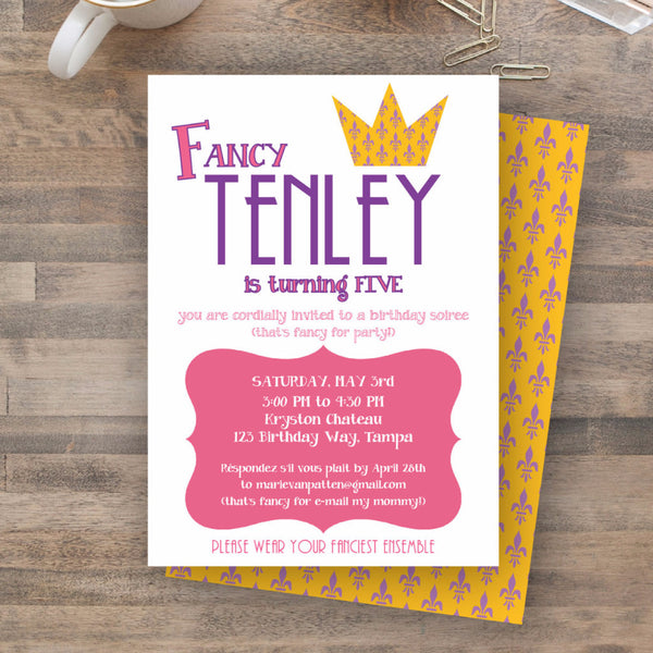 """fancy nancy"" inspired invitation"