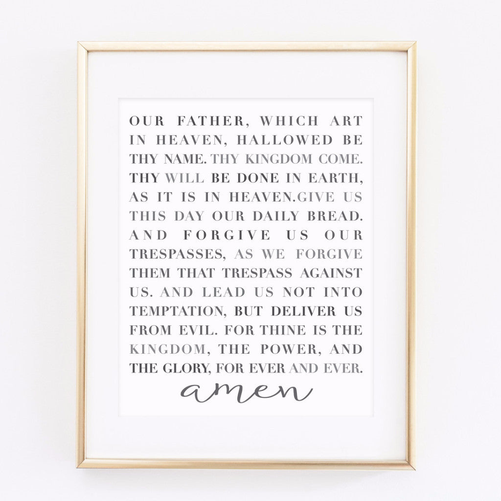 photograph about Prayer Printable called The Lords Prayer - printable 8x10 print