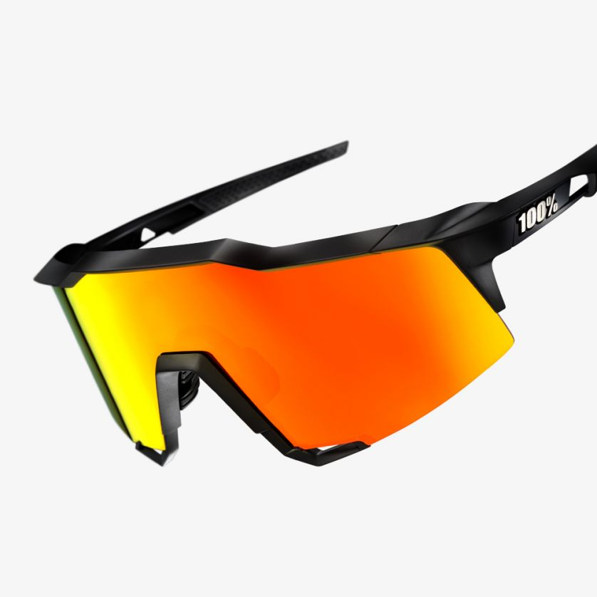Ride 100%, Lunettes, Ride 100% SPEEDCRAFT - Soft Tact Black - HiPER Red Multilayer Mirror - Cycle Robert Boutique Magasin Vélo LaSalle Montréal Fitting bike Trek bicycles