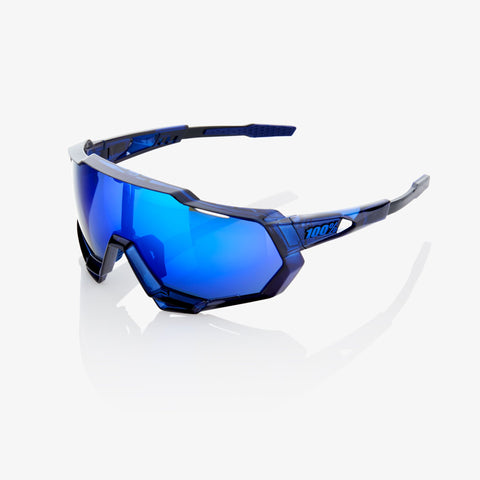 Ride 100%, Lunettes, Ride 100% SPEEDTRAP - Polished Translucent Blue - Electric Blue Mirror - Cycle Robert Boutique Magasin Vélo LaSalle Montréal Fitting bike Trek bicycles