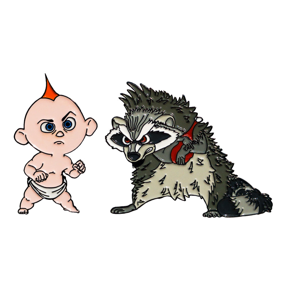 Jack Jack vs. Raccoon - Enamel Pins - Midnight Dogs
