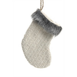 Christmas Ornament - fur knit stocking white