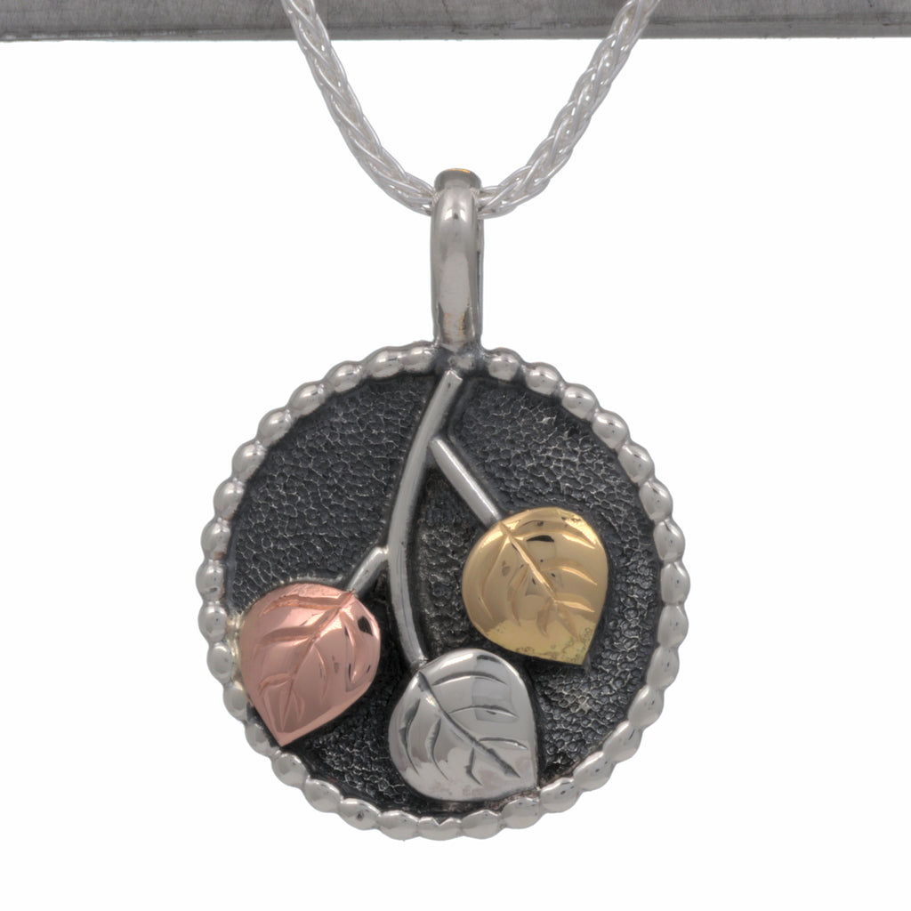 Aspen Collection Beaded Disc Pendant Sterling Silver 18K Gold Copper