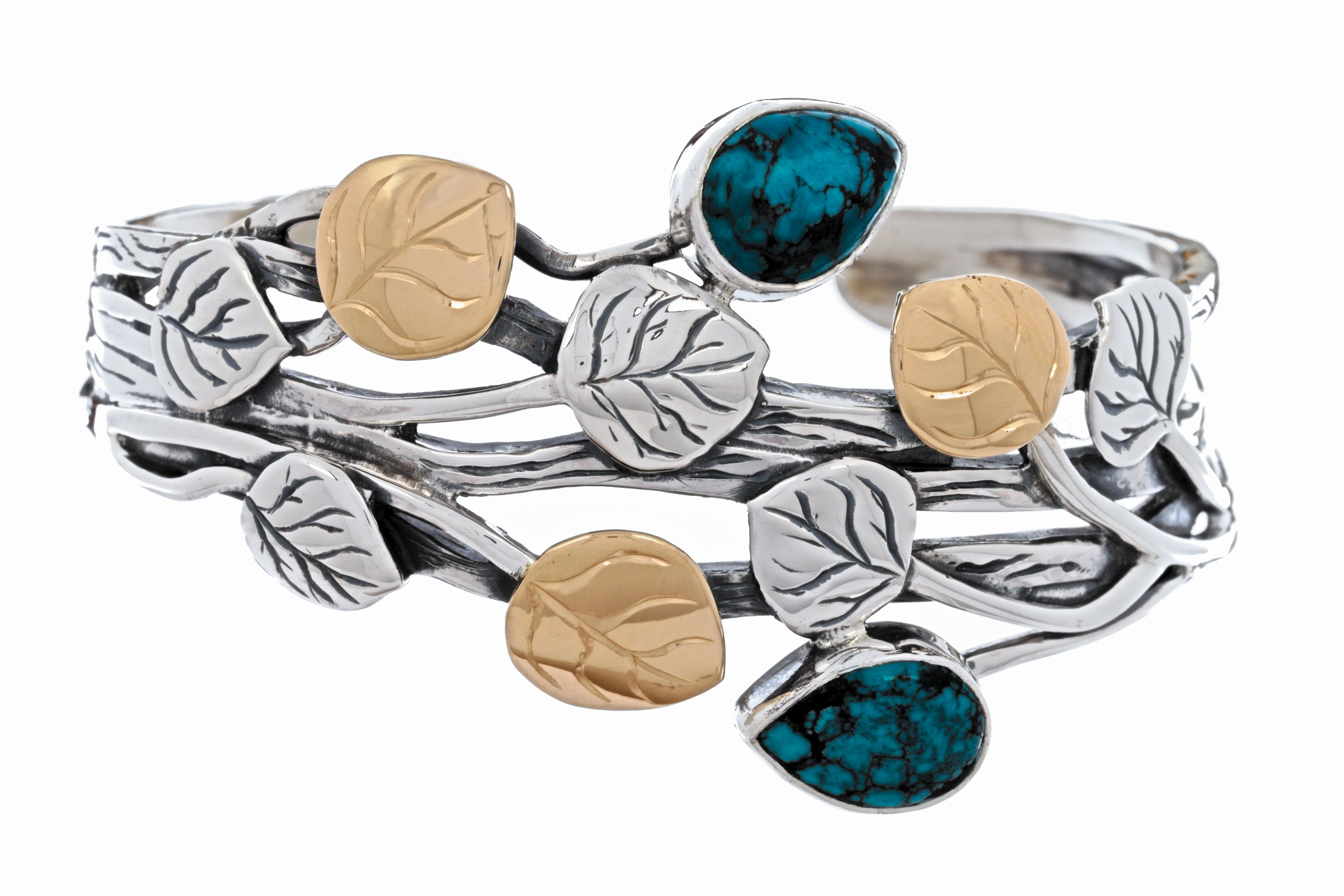 Aspen Collection Branch Cuff Bracelet Sterling Silver 18K Gold Turquoise