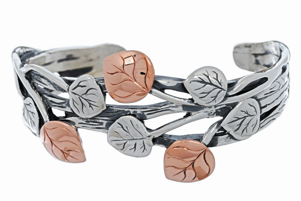 Aspen Collection Branch Cuff Bracelet Sterling Silver Copper
