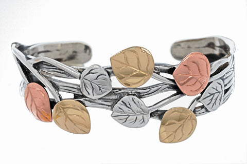Aspen Collection Branch Cuff Bracelet Sterling Silver 18K Gold Copper