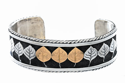 aspen collection rope border cuff bracelet sterling silver 18K gold