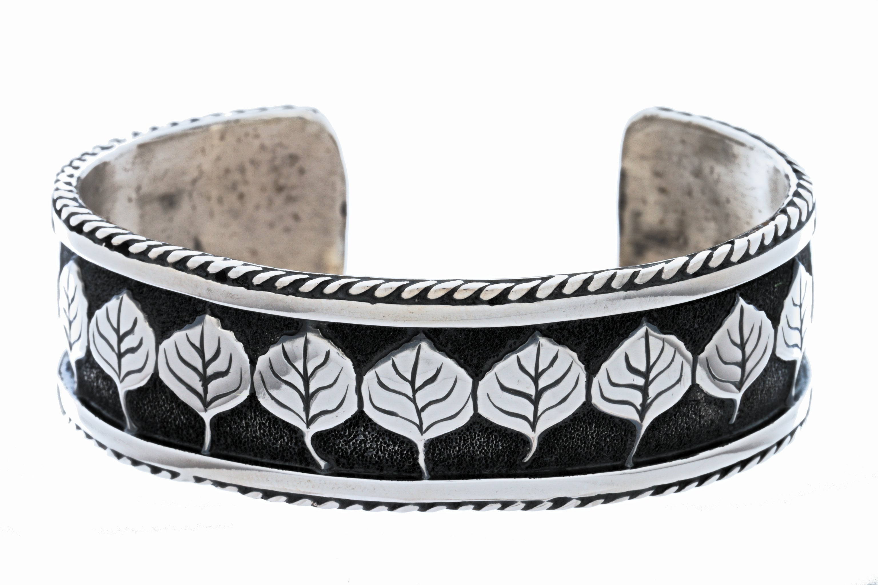 aspen collection rope border cuff bracelet sterling silver