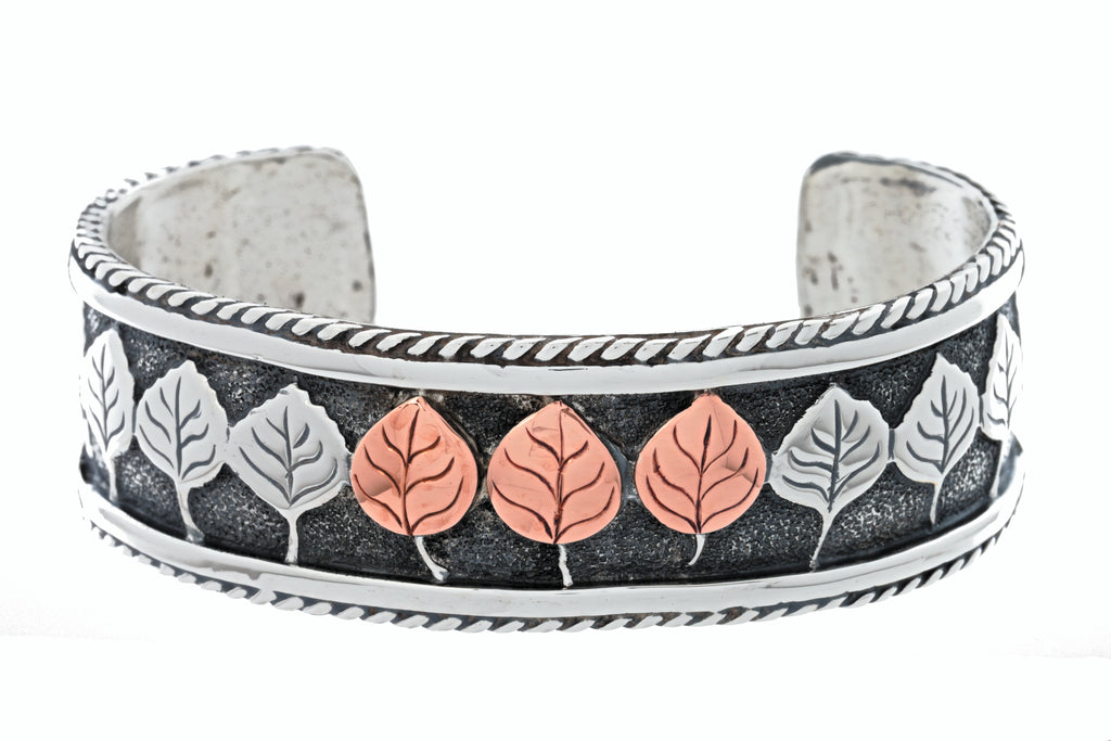 aspen collection rope border cuff bracelet sterling silver copper
