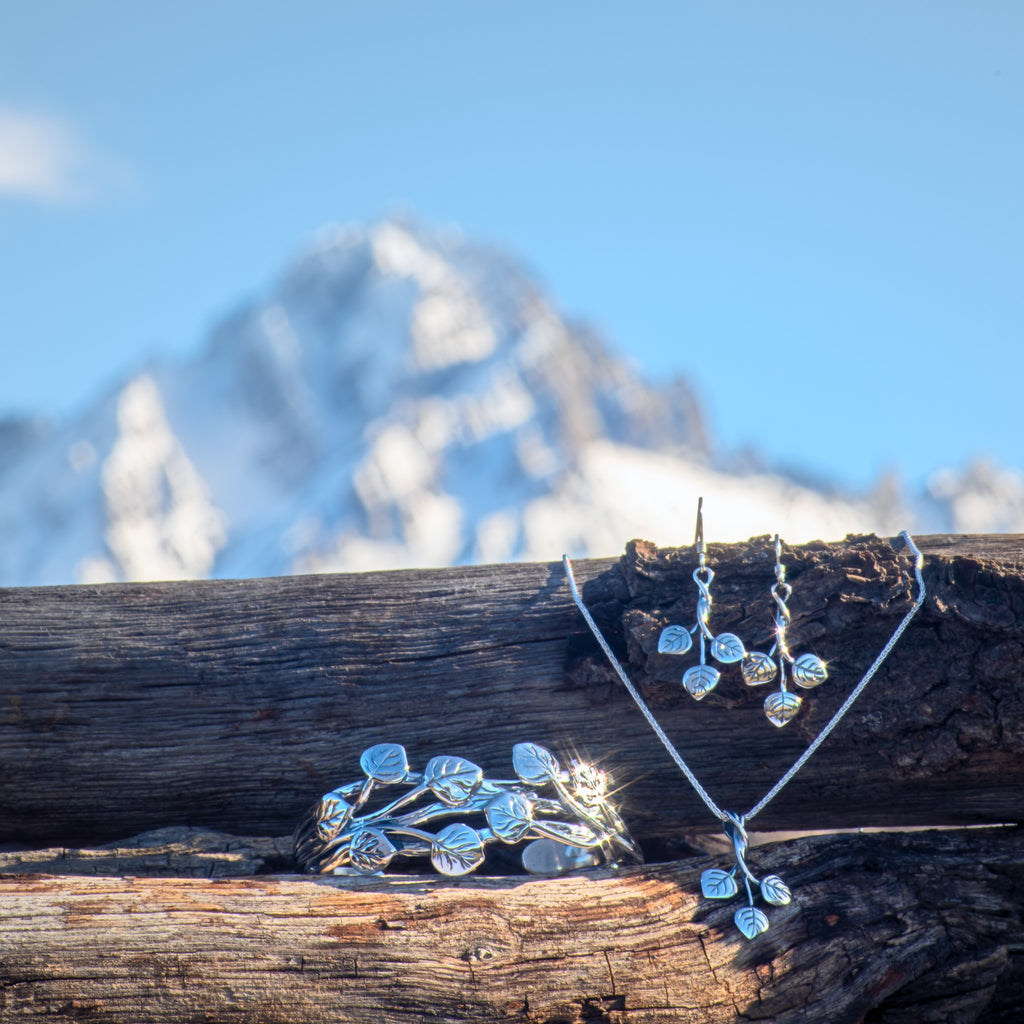 aspen collection jewelry set sterling silver