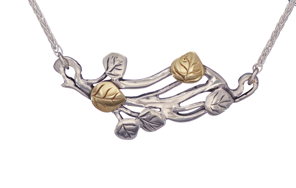 Aspen collection Branch Sweep Necklace Sterling Silver 18K Gold