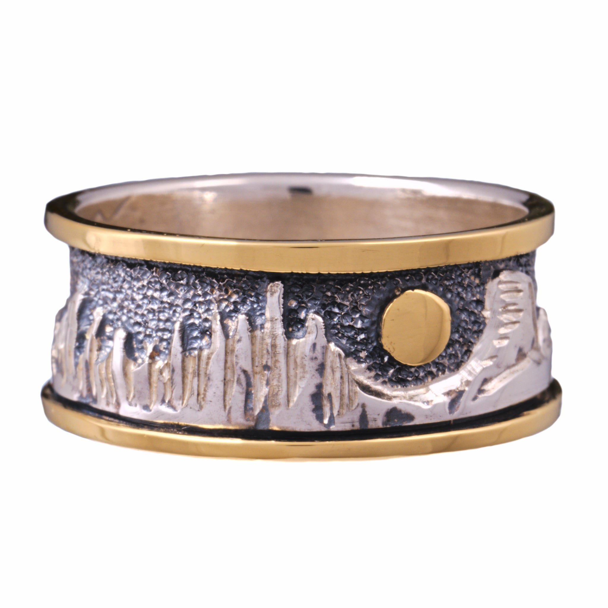 mountain collection cimarron ring sterling silver 18k gold