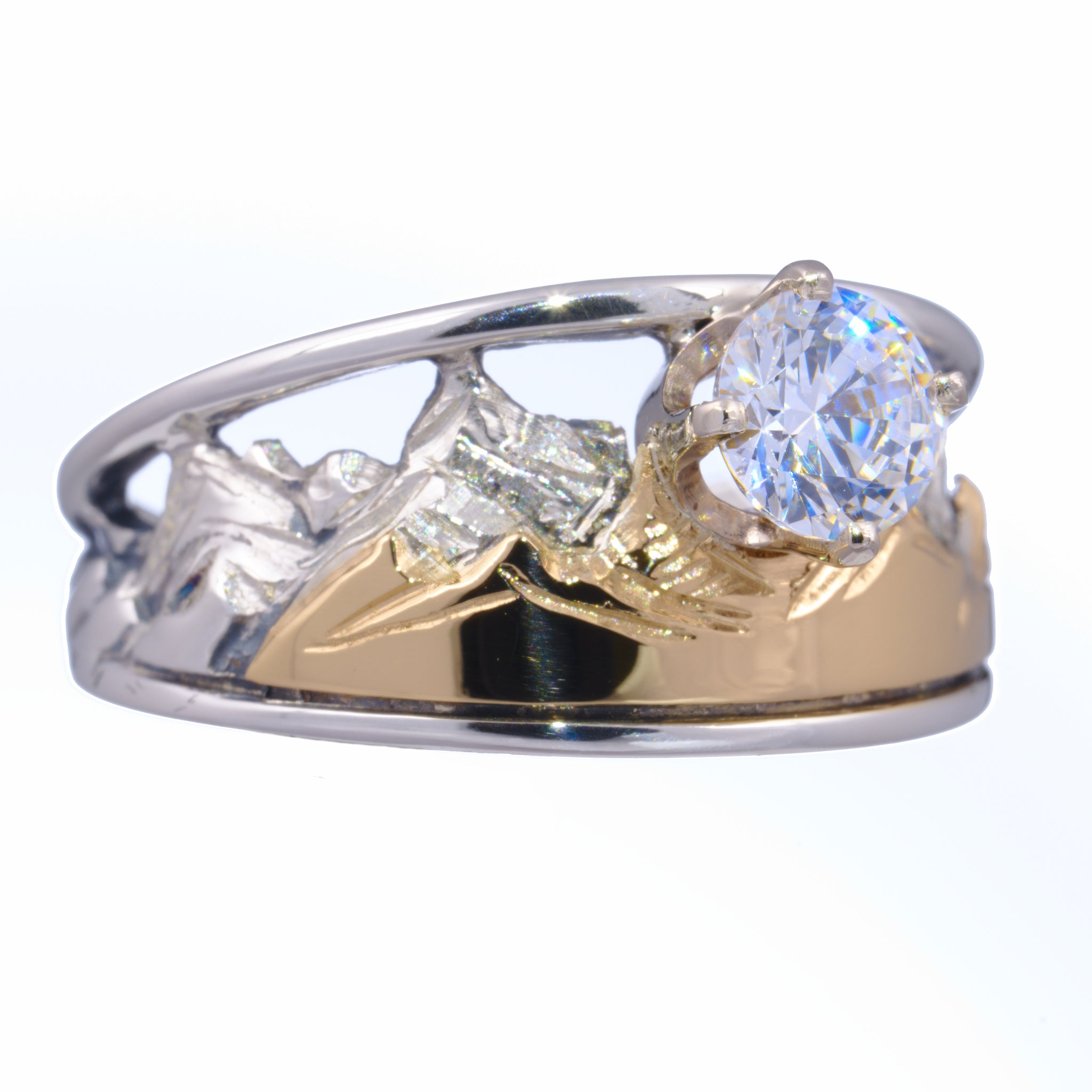 Tapered Mountain Ring with Birthstone