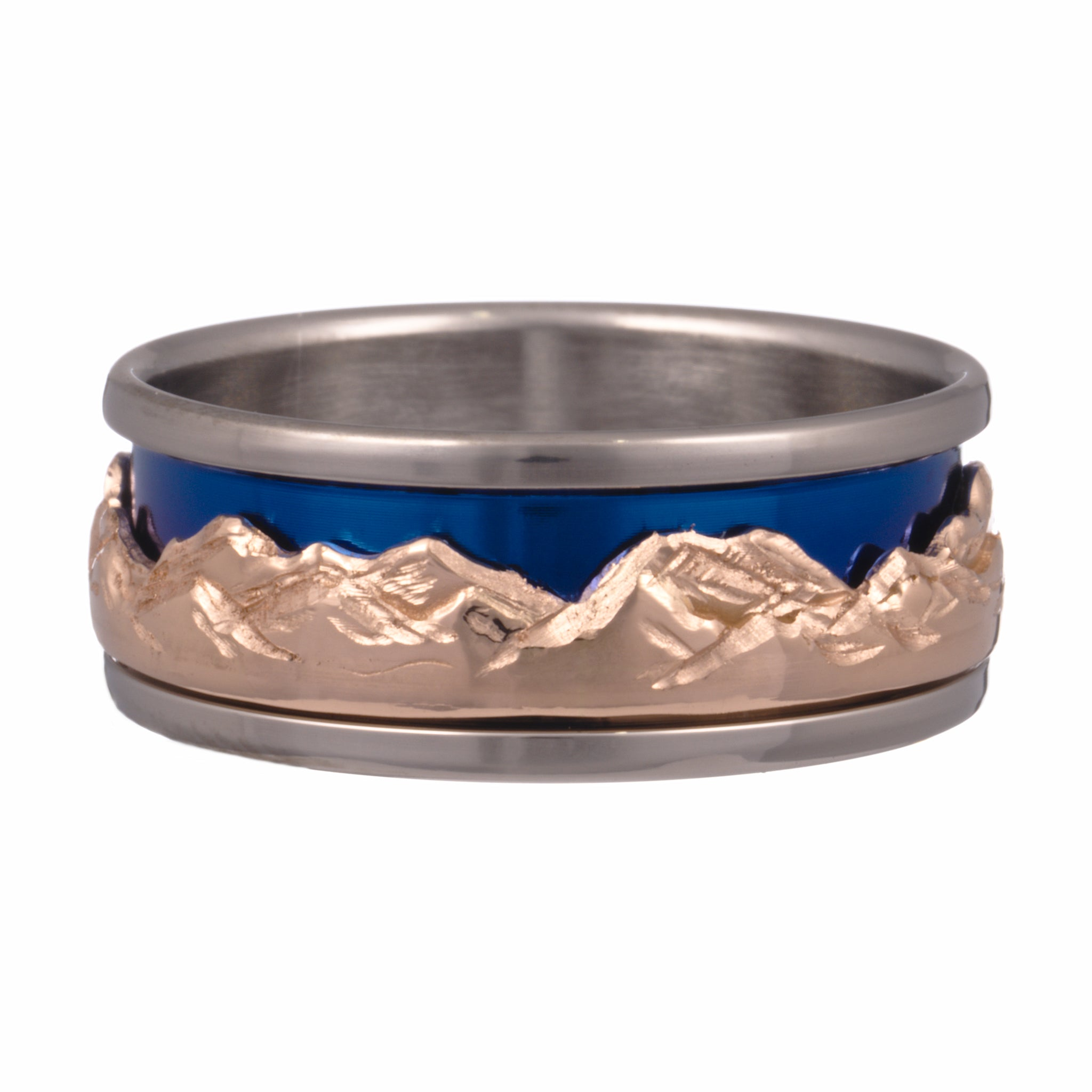 mountain collection ring titanium rose gold