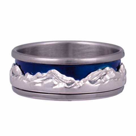 mountain collection ring titanium sterling silver