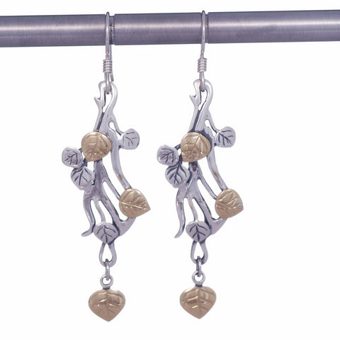 Aspen Collection Branch Drop Earrings Sterling Silver 18K Gold