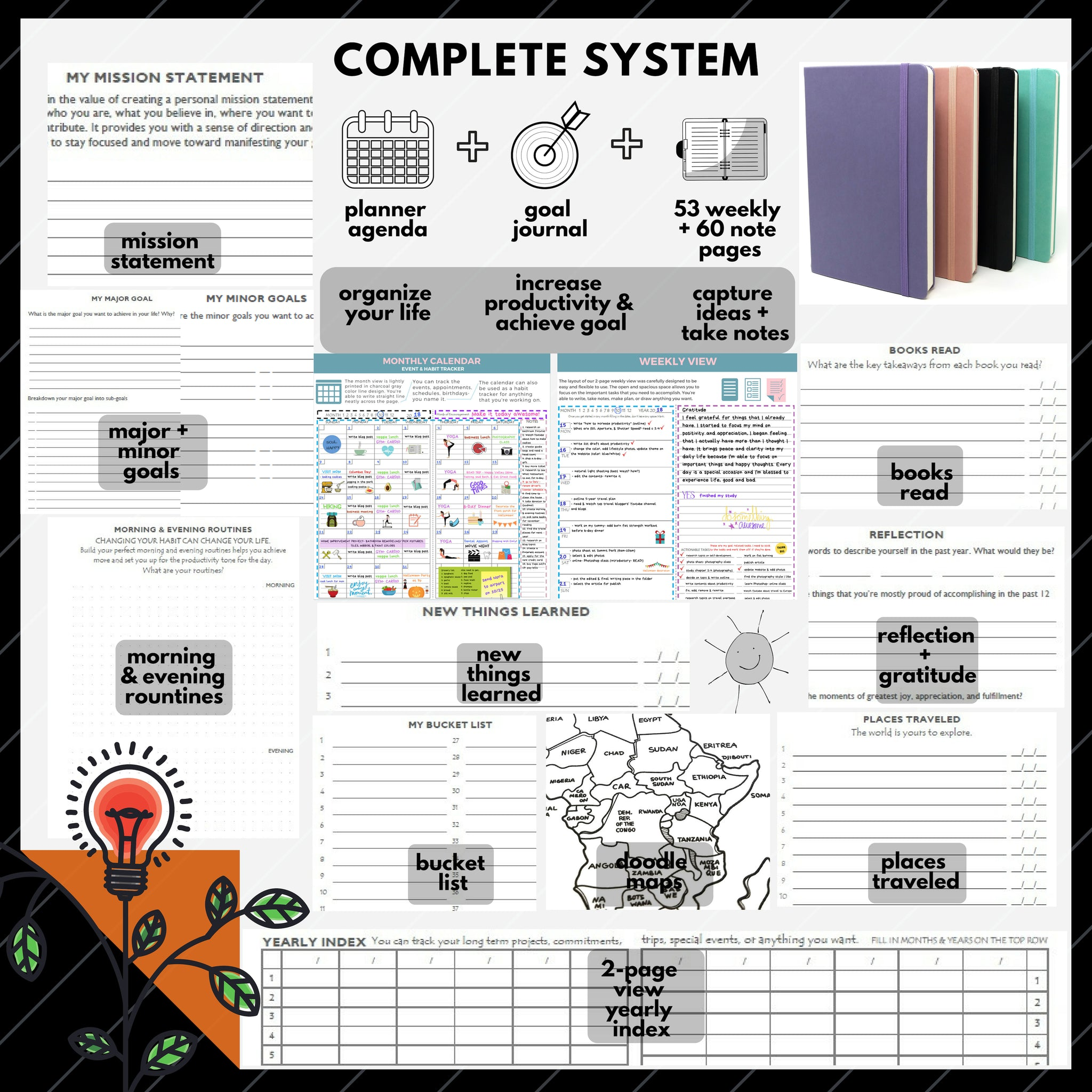 Kelkaa Planner 2020 Daily Weekly Monthly Agenda to Achieve Goals /& Happiness Vision Board//Mind Map Gratitude /& Productivity Journal 1 Year Undated A5 Hardcover FSC Certified Notebook Blush Pink