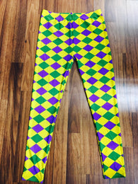 Mardi Gras Leggings -  Diamond Purple, Green and Gold