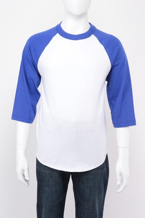Youth Baseball Raglan - White / Royal Blue
