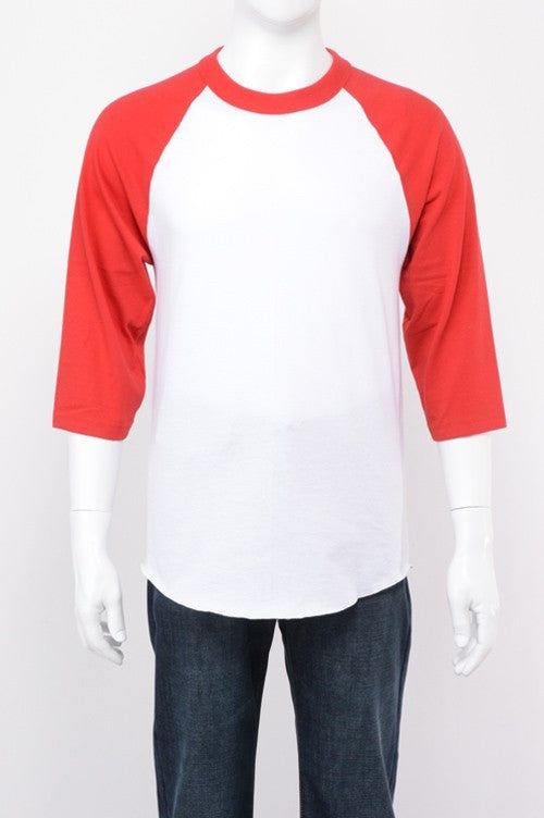 Youth Baseball Raglan - White / Red