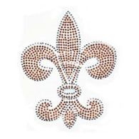 Gold  Rhinestud Fleur de Lis Transfer with Crystal Outline