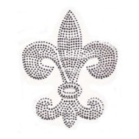 Large Silver Rhinestud Fleur de Lis Transfer with Crystal Outline