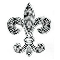 Large Black Rhinestud Fleur de Lis Transfer with Crystal Outline