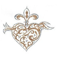 Fleur de Lis with Heart Rhinestone/stud Transfer