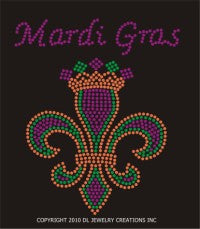 Fleur de Lis with Crown and Mardi Gras Transfer