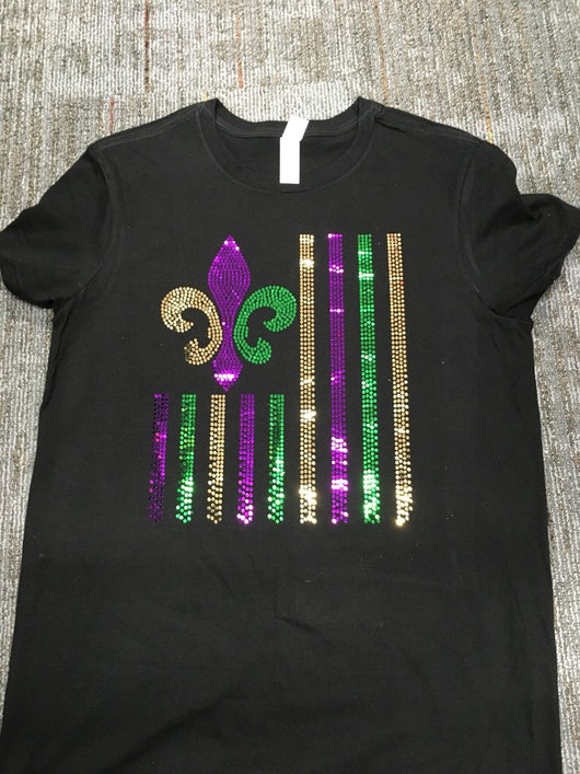 Spangle  Mardi Gras Flag Shirt