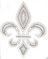 Large Crystal/Black/Gold Fleur de Lis Rhinestone Transfer