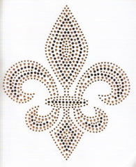 Large Topaz/Gold/Black Fleur de Lis Transfer