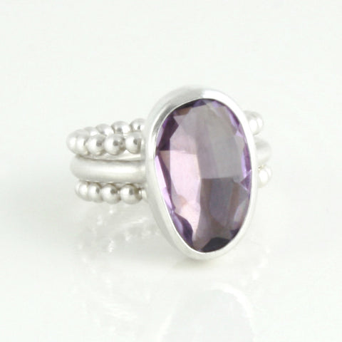 Sterling silver and amethyst stacking rings
