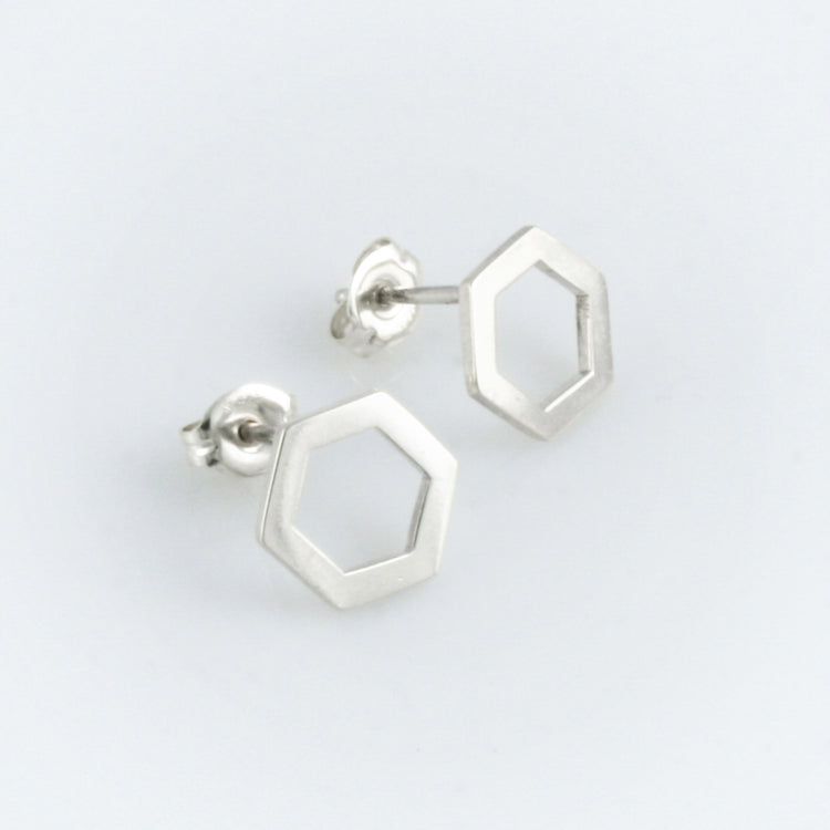 Minimalist hexagon sterling silver studs