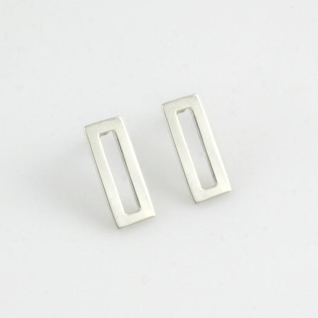 Minimalist rectangle sterling silver studs