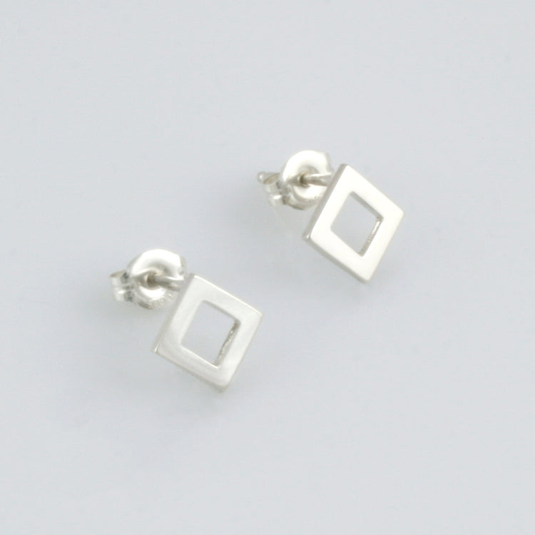 Minimalist square sterling silver studs