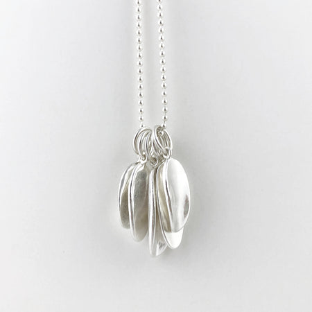 Folium silver charm necklace