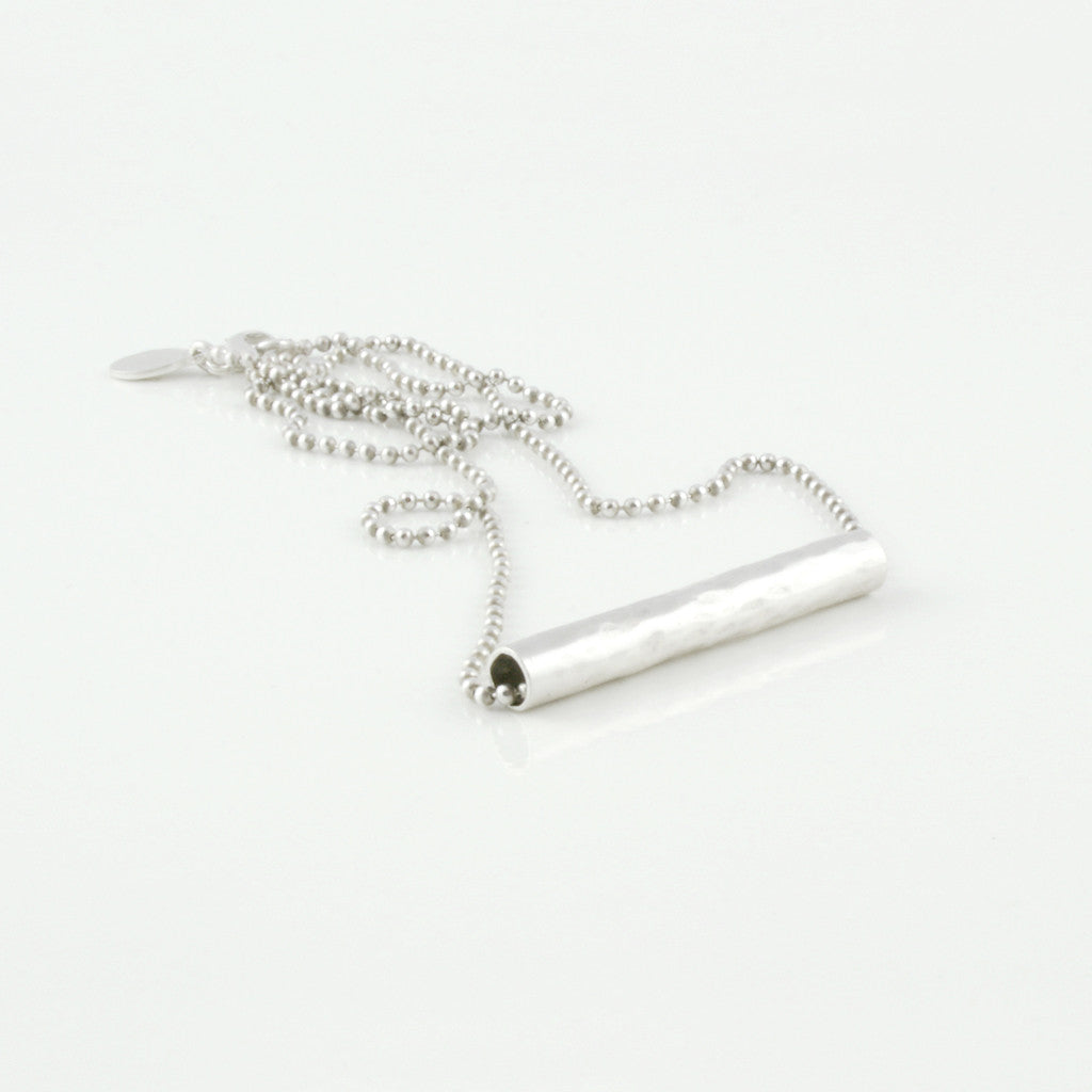 Sterling silver straight tube necklace