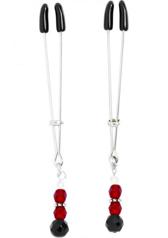 Red Beaded Nipple Clamps With Tweezer Tip - Red