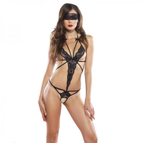 2 Pc Cage Strap Lace Crotchless Teddy, Blindfold O/S Black