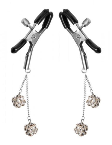 Masters Rhinestone Nipple Clamps Square Clear