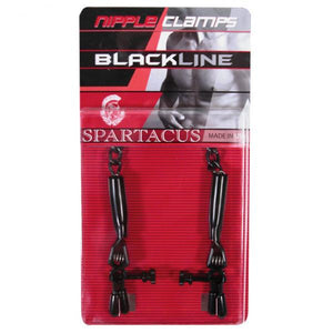 Spartacus Blackline Nipple Clamps Adjustable Rubber Tipped Pinchers
