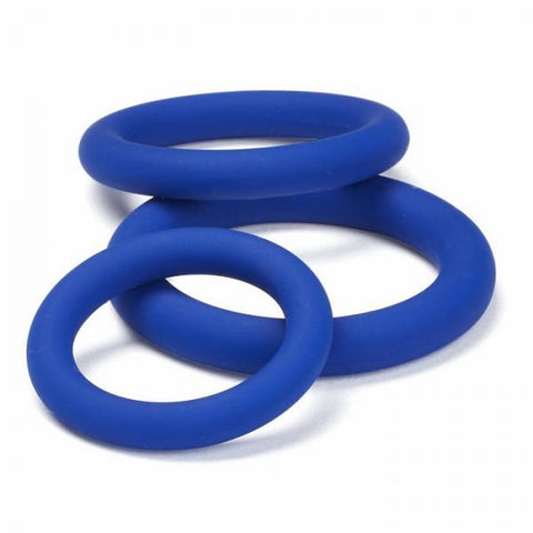 Cock Rings- Cloud 9 Pro Sensual Silicone Cock Ring 3 Pack Blue by Cloud 9 Novelties- Blue  X  in. Silicone Phthalate Free