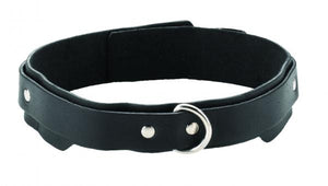 "Collars & Leashes- 1.25"" Collar Double Strap Comfort Cut by Spartacus- Black  X  in. Leather Mfg Warranty Included   SPL08J1"