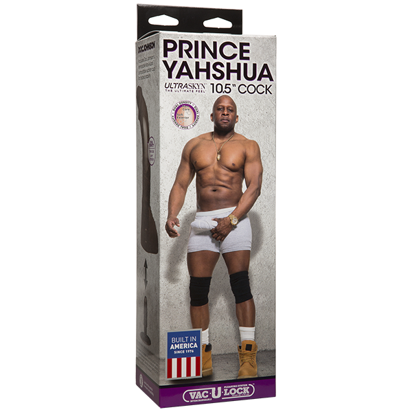 Porn Star Dildos- Prince Yahshua Ultra Skyn 10.5 inches Chocolate Dildo by Doc Johnson- Brown 10.5 X 2 in. Realistic,TPR/TPE Phthalate Free,Suction Cup,Harness Compatible,Made in USA,Lock System Compatible Curved,Phallic  DJ806005